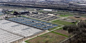 Aerial view of Stickney Wastewater Treatment Plan. U.S. Army Corps of Engineers.