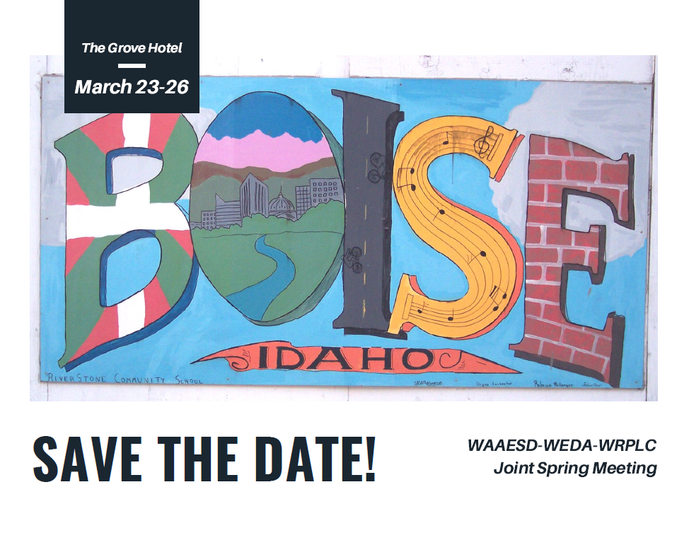 Save the Date! 2020 WAAESD-WEDA-WRPLC Joint Spring Meeting Postcard